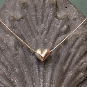 Jewelry - Sterling silver puffed heart necklace